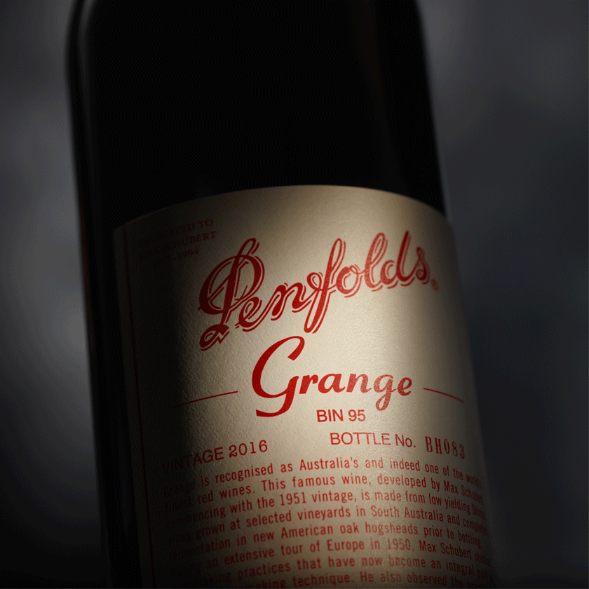 Close up of Grange 2016 label with spotlight