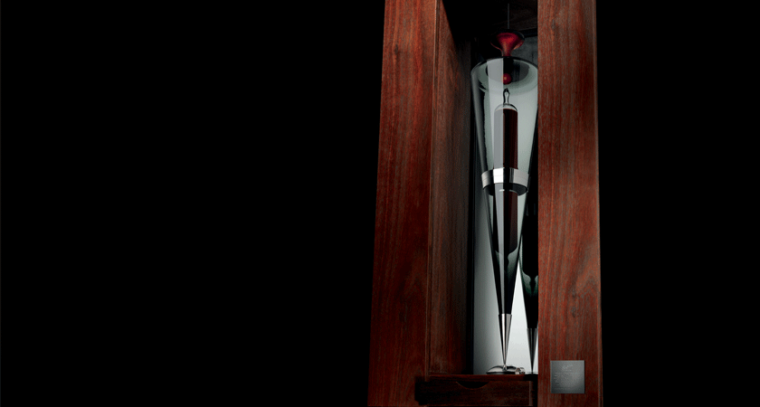 Penfolds glass ampoule in display case