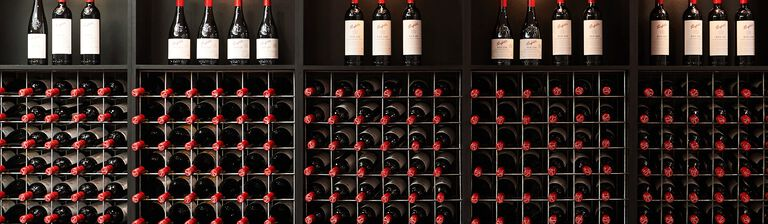 Wall of Penfolds wine bottles at Barossa Valley Cellar Door