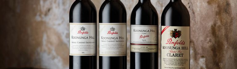 Close up of 4 heritage Koonunga Hill bottles