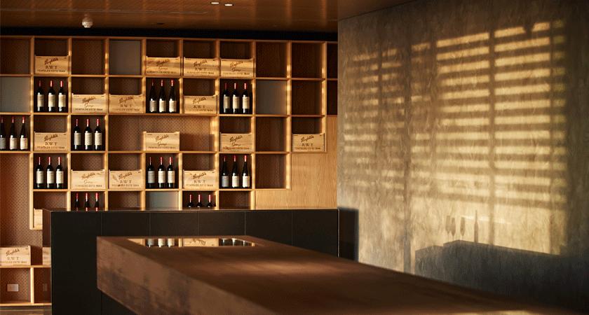 Interior of Magill Estate Kitchen.  Wine wall