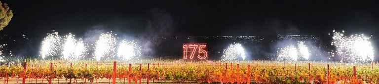 Fireworks over the vineyard, including 175 sign