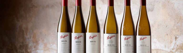 6 bottles of Bin 51 Riesling of varying ages