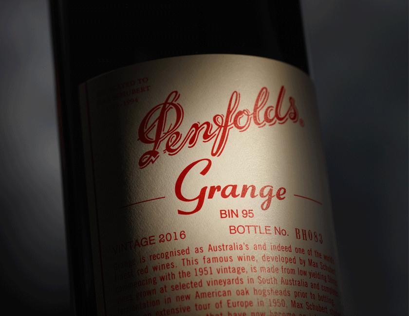 Grange 2016 bottle with spotlight lighting