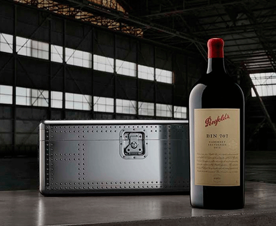 Boeing x Penfolds gift box with Bin 707 Cabernet magnum