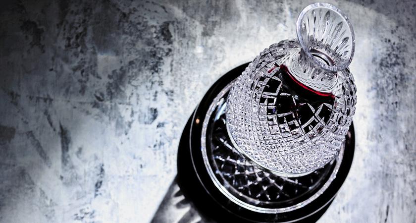 Overhead image of Saint Louis crystal decanter