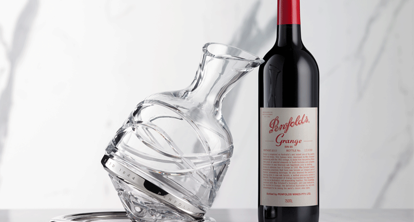 Grange bottle with Saint-Louis x Penfolds series two crystal decanter