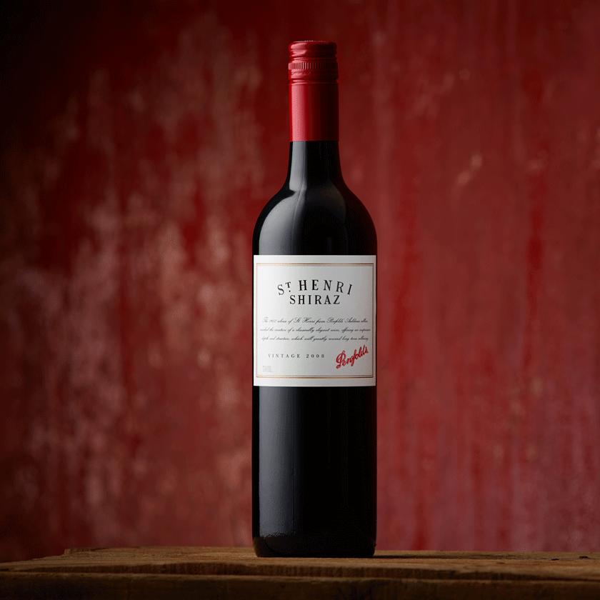 St Henri 2008 bottle with brick red background
