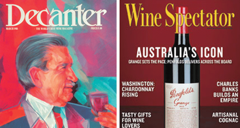 Decanter and Wine Spectator magazine covers from the mid-90s