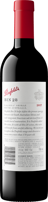 2017 Penfolds Bin 28 Shiraz Back Label