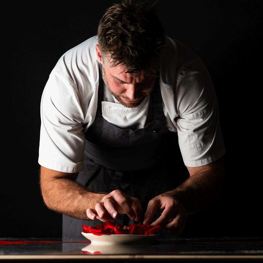 Scott Huggins, Head Chef, plating up