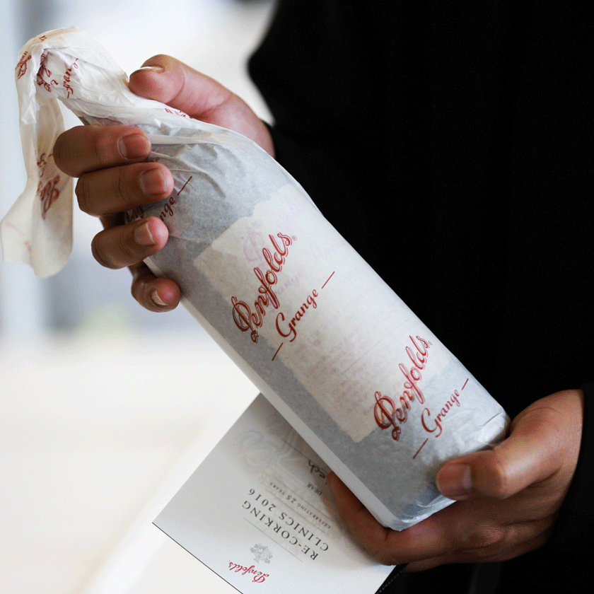 Penfolds bottle wrapped in tissue paper