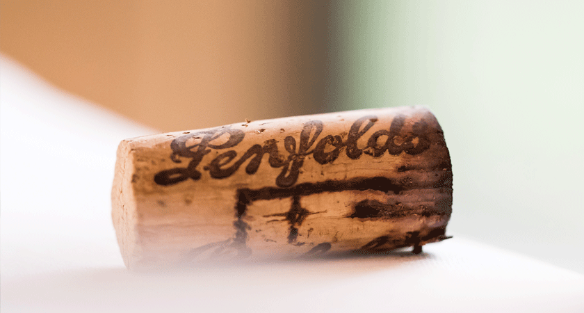 Aged Penfolds cork on bench