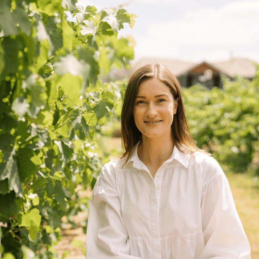 Shauna Bastow, Penfolds Winemaker in the vineyards of Magill Estate