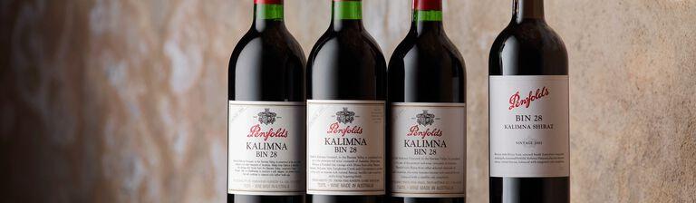 Bin 28 Shiraz bottles of varying ages