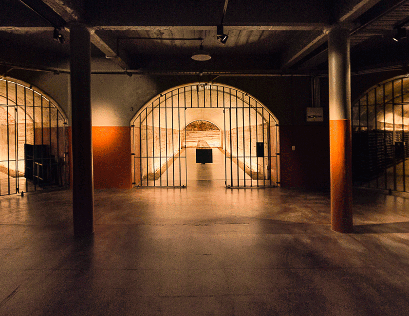 The tunnels of Magill Estate.  The tunnel is warmly lit, with an open iron gate.