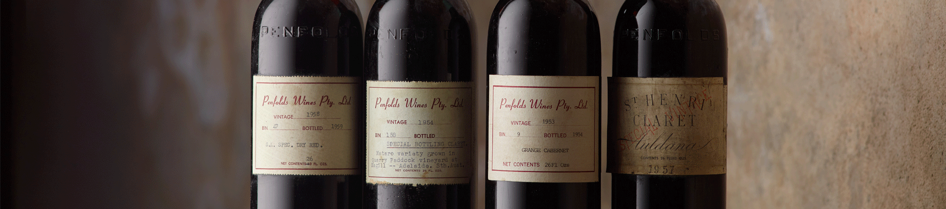 Four heritage Penfolds bottle labels from the 1950s