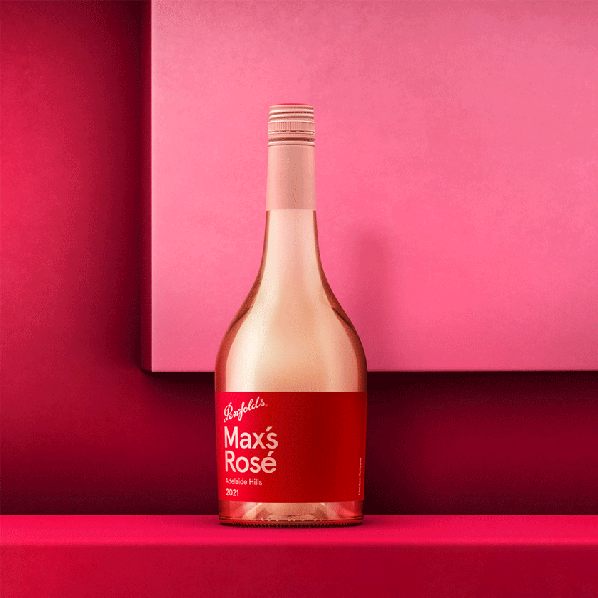 Penfolds Max's Rose bottle with red label against two tone pink background