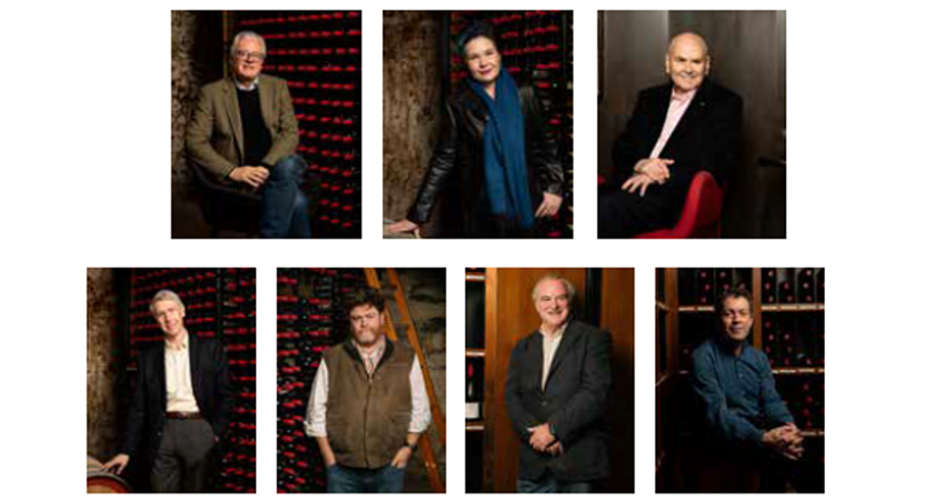 7 portraits. Andrew Caillard MW, Fongyee Walker MW, James Halliday AM, Dr Neil Beckett, Nick Ryan, Josh Raynolds and Peter Gago.