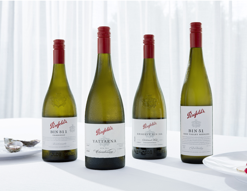 Four Penfolds white wines on a white tablecloth