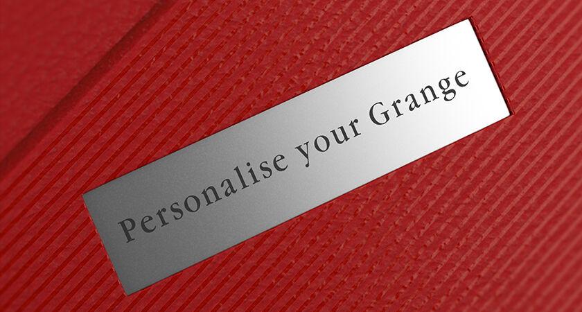 Close up of Grange plaque on gift box