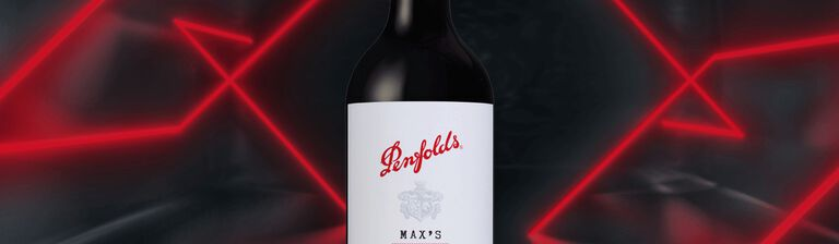 Penfolds Max's bottle with neon red and black background