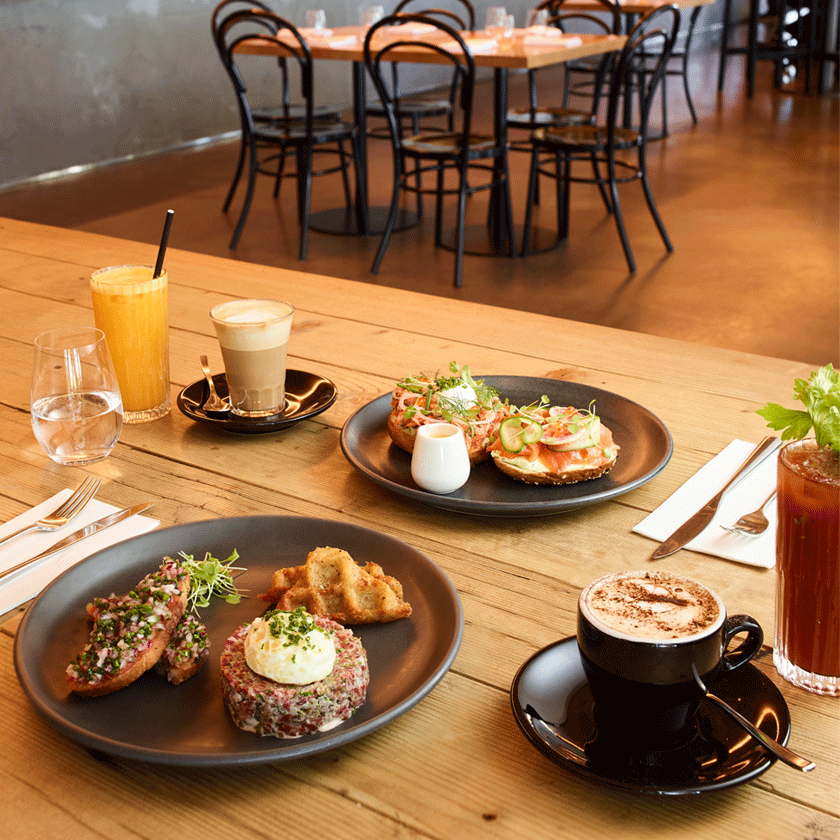 Brunch dishes on a table at Magill Estate Kitchen