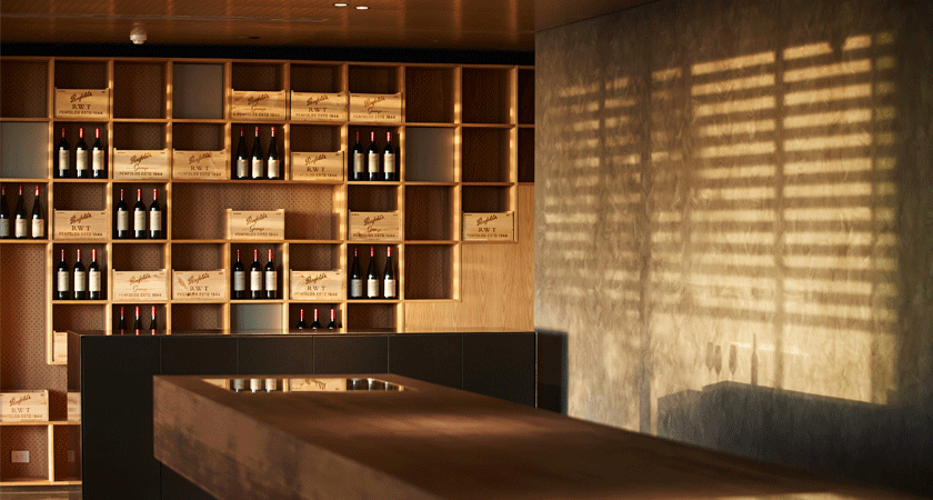 Interior of Magill Estate Kitchen.  Wine wall