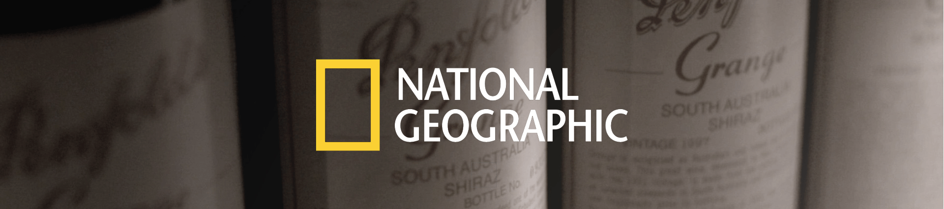 Three Grange labels close up. National Geographic logo is overlaid