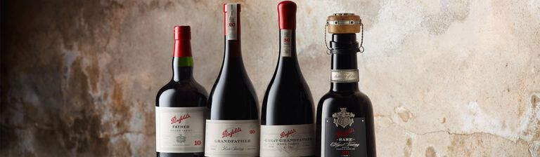 Penfolds Father, Grandfather, Great Grandfather and 50 year old rare tawny bottles