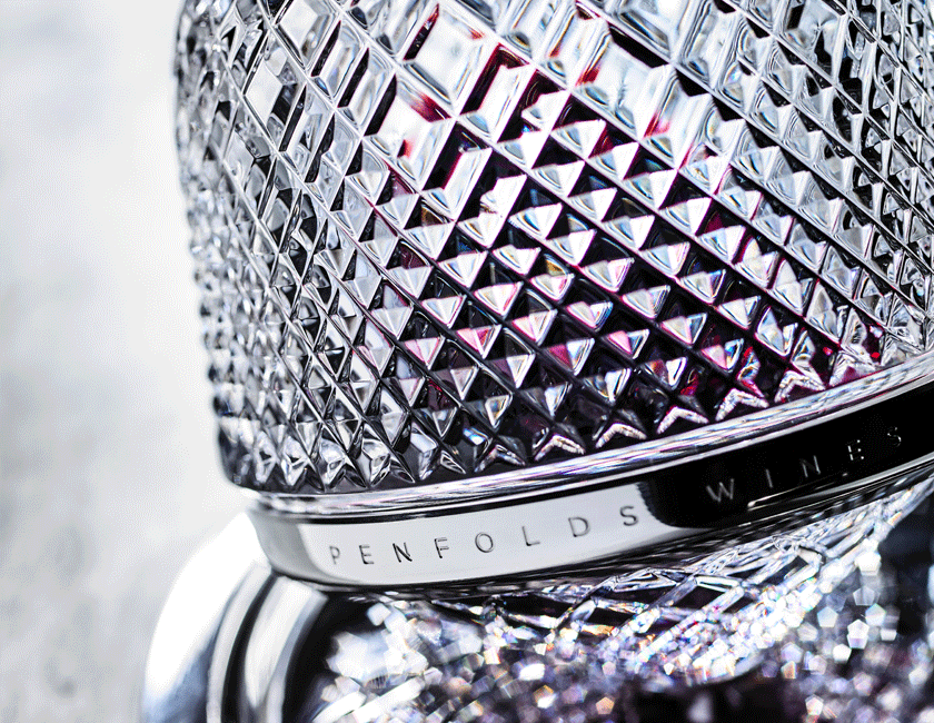 Close up of Penfolds x Saint Louis crystal decanter