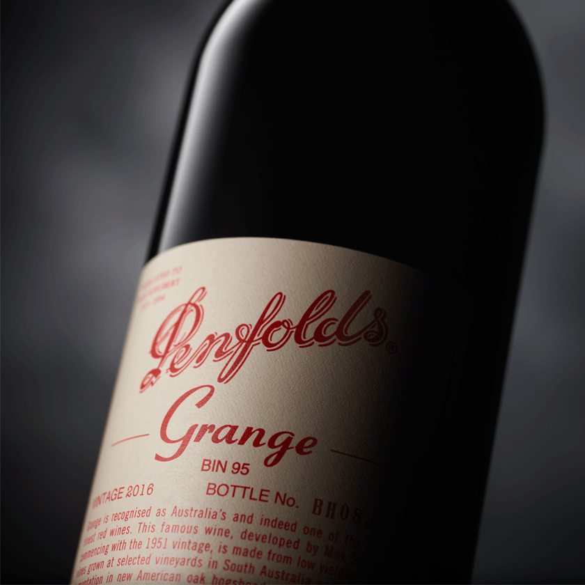 Close up of Grange 2016 label