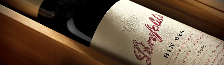 Special Bin 620 bottle in wooden case close up