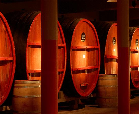 Warmly lit large St Henri wine vats