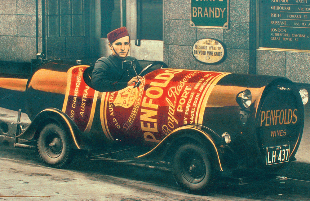 Penfolds promotional cart in the 1920s