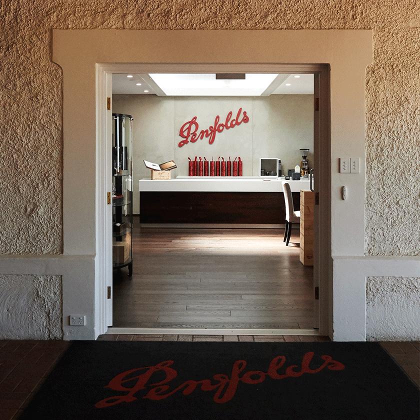 Entrance to Barossa Valley Cellar Door.  Bar is visible through rendered brick doorway.