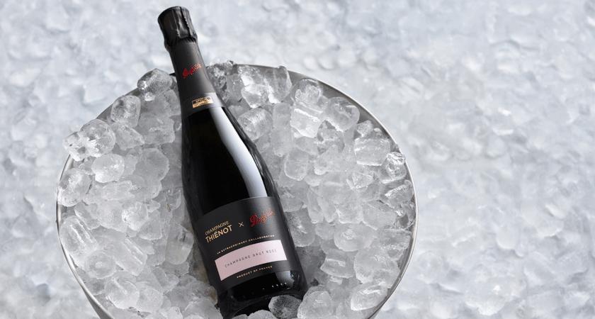 Champagne rose bottle on ice