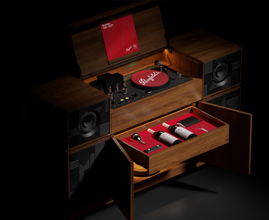 Grange record player console against black background