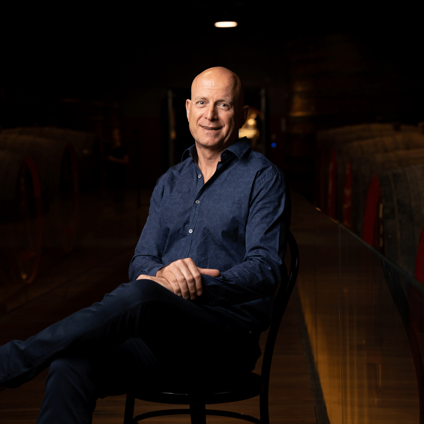 Andrew Hales, Penfolds Winemaker, sits in the warmly lit tunnels of the winery